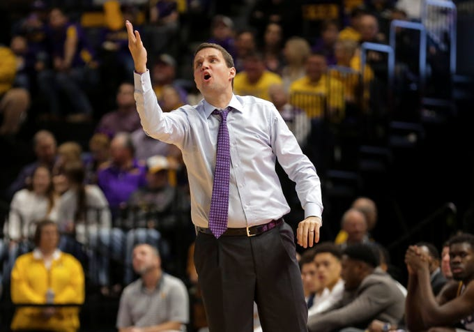 Feb 1, 2020; Baton Rouge, Louisiana, USA;  LSU Tigers head coach Will Wade during the first half against the Mississippi Rebels at the Maravich Assembly Center. Mandatory Credit: Derick E. Hingle-USA TODAY Sports