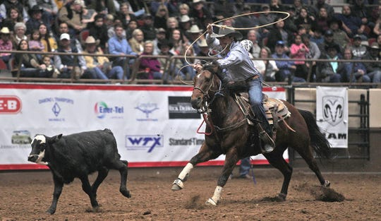 Ty Harris competes in the tie down roping event during the second day of competition at the San Angelo Stock Show and Rodeo on Friday, Jan. 31, 2020.