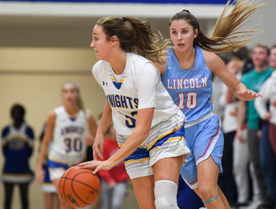 O'Gorman's Emma Ronsiek (31), a Creighton commit, dribbles the ball while Lincoln's Morgan Hansen, a South Dakota commit, guards her.