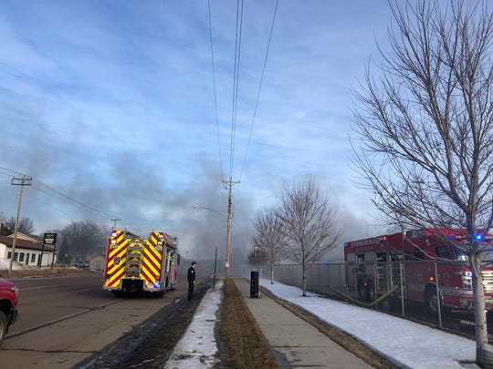 Crews respond to a storage unit fire on the 1700 block of E. Rice Street in northeastern Sioux Falls on Saturday.