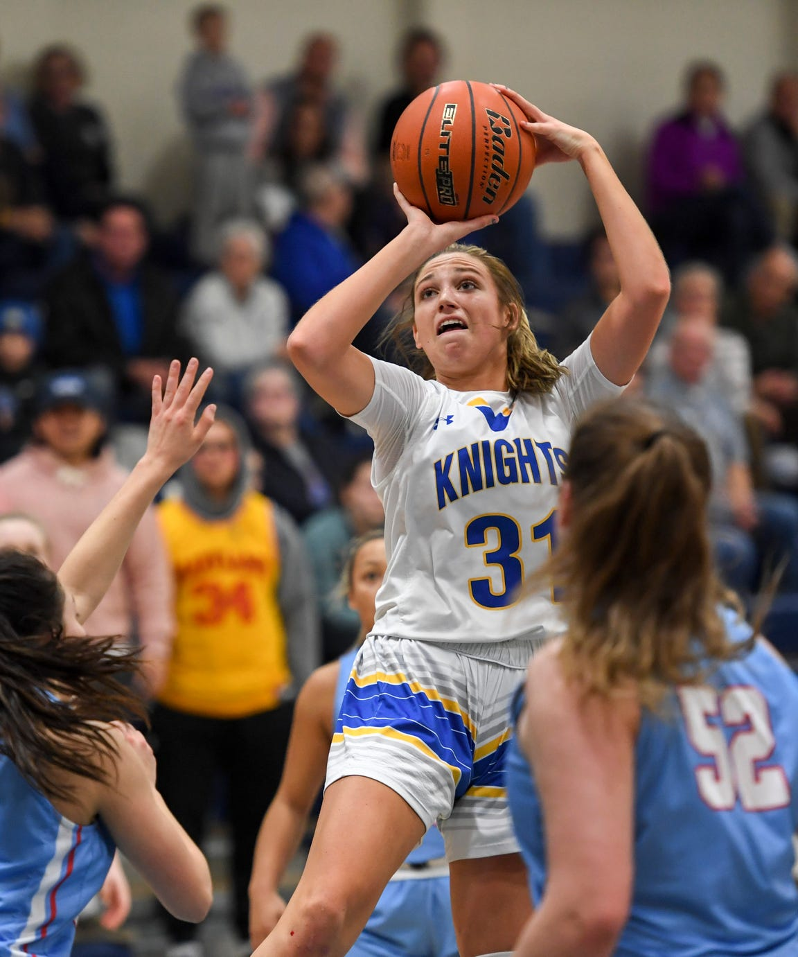O'Gorman's Emma Ronsiek (31) goes up for a shot during the game against Lincoln on Friday, Jan. 31, 2020 at the O'Gorman High School.