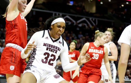 The Missouri State Lady Bears take on the Bradley Braves at JQH Arena on Friday, Jan. 31, 2020.