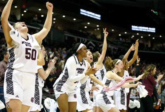 The Missouri State Lady Bears bench celebrates as baskets are made during a 90-56 win for the Lady Bears over the Bradley Braves at JQH Arena on Friday, Jan. 31, 2020.