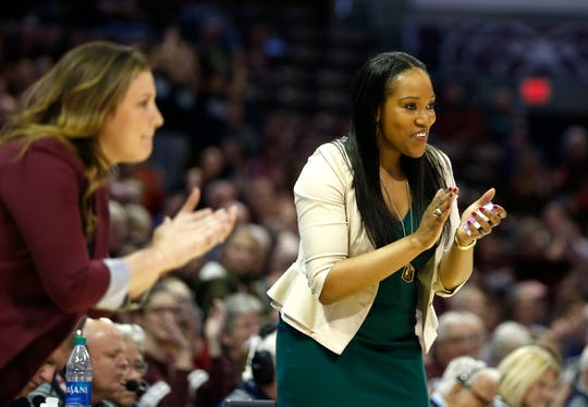 Head coach Amaka Agugua-Hamilton reacts as the Missouri State Lady Bears take on the Bradley Braves at JQH Arena on Friday, Jan. 31, 2020.