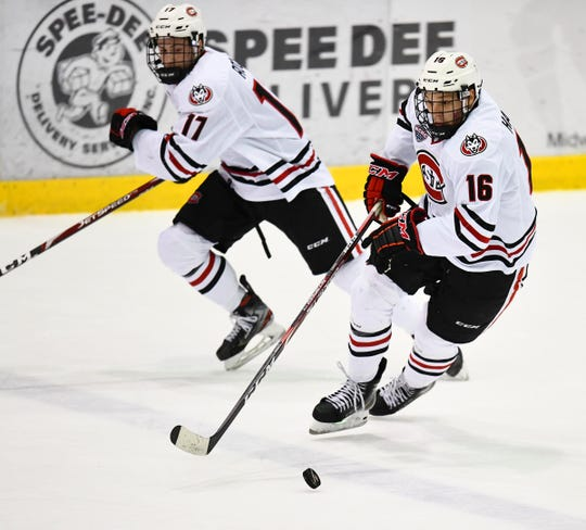 St. Cloud State's Will Hammer controls the puck during the first period of the Friday, Jan. 31, 2020, game against Miami at the Herb Brooks National Hockey Center in St. Cloud.