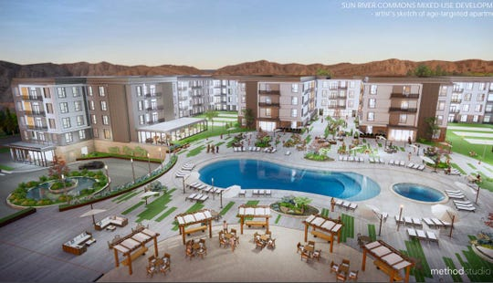 A rendering supplied to the City of St. George shows an artists' conception of proposed apartment units that would move in off Interstate 15 at SunRiver. During a meeting of the city planning commission, developers agreed to make the buildings one story shorter than shown here as a concession to concerns from nearby residents.