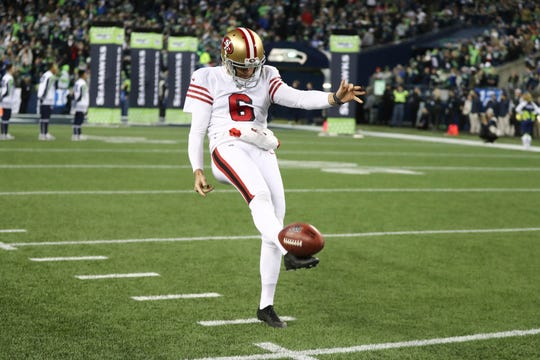 San Francisco 49ers punter Mitch Wishnowsky (6) warms up prior to an NFL football game against the Seattle Seahawks, Sunday, Dec. 29, 2019 in Seattle. (Ben Liebenberg via AP)