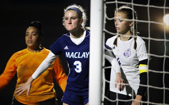 Maclay sophomore Kate Smith camps out for a corner kick as Maclay's girls soccer team beat Port St. Joe 6-0 in the District 2-2A championship game on Jan. 31, 2020.