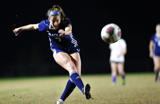 Maclay senior Hannah Hosay takes a shot for a goal as Maclay's girls soccer team beat Port St. Joe 6-0 in the District 2-2A championship game on Jan. 31, 2020.