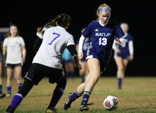 Maclay junior Delaney Dickson dribbles as Maclay's girls soccer team beat Port St. Joe 6-0 in the District 2-2A championship game on Jan. 31, 2020.