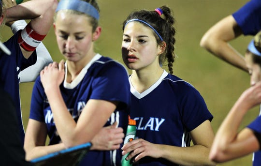 Maclay junior defender Nicole Macri listens to instructions during a water break as Maclay's girls soccer team beat Port St. Joe 6-0 in the District 2-2A championship game on Jan. 31, 2020.