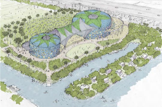 """As part of a concept for the future of Vero Beach's water and sewer plant property, DPZ's Andres Duany on Jan. 31, 2020, proposed preserving clean water holding tanks for a possible cultural arts center, while adding rentable glorified camping (""""glamping"""") amenities amid a kayak area to the west side of the property."""