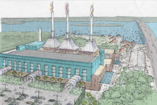 The old Vero Beach power plant at 17th Street and Indian River Boulevard is seen looking east in a rendering done Jan. 31, 2020, by DPZ, city planning consultants. One proposal for the three corners the city owns there is to turn the plant into a conference center and adjacent hotel with rooftop dining, perhaps under awnings attached to the smokestacks. Parking is depicted, lower left.