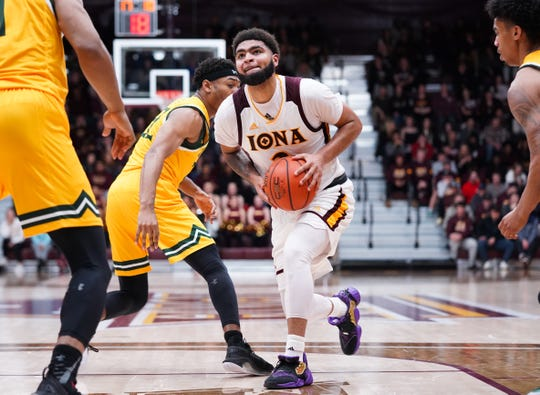 E.J. Crawford finished with a game-high 22 points in the 87-64 loss to Siena on Friday, Jan. 31, 2020.