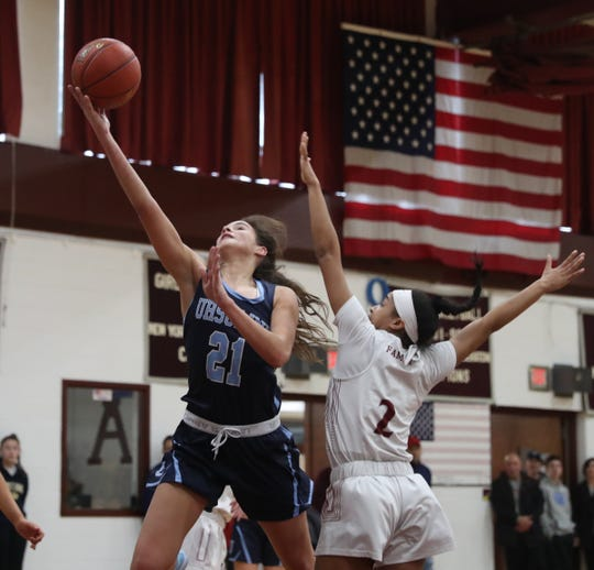 Ursuline's Sonia Citron (21) drives to the basket during their 75-72 overtime win over Albertus at Albertus Magnus High School in Bardonia on Saturday, February 1, 2020.