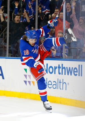 Jan 31, 2020; New York, New York, USA; New York Rangers left wing Artemi Panarin (10) reacts after scoring a goal against the Detroit Red Wings during the second period at Madison Square Garden. Mandatory Credit: Andy Marlin-USA TODAY Sports
