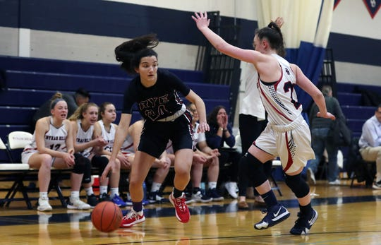 Rye defeated Byram Hills 62-54 in girls basketball action at Byram Hills High School in Armonk  Jan. 31, 2020.