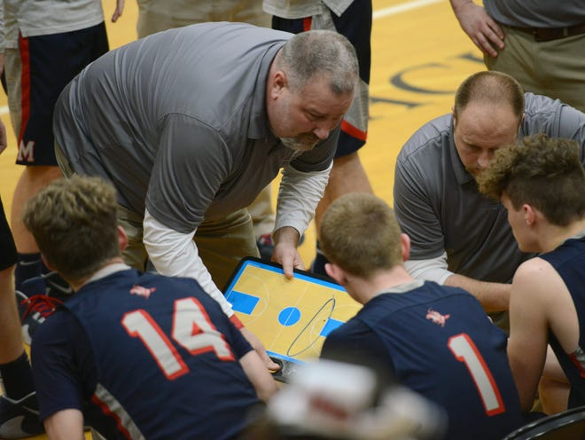 Morgan coach Rob Justice talks to his team during a fourth-quarter timeout on Friday night in Dresden.
