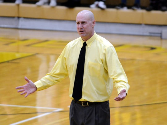 Tri-Valley coach Todd McLoughlin reacts to a call on Friday night in Dresden.