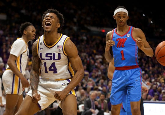 Marlon Taylor reacts after a dunk by forward Trendon Watford during the second half against the Mississippi Rebels at the Maravich Assembly Center on Feb 1, 2020.