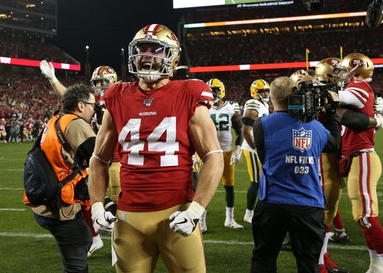 San Francisco 49ers fullback Kyle Juszczyk (44) reacts following the 37-20 victory against the Green Bay Packers in the NFC Championship Game at Levi's Stadium.