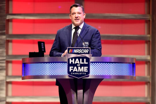 Tony Stewart speaks during the 2020 NASCAR Hall of Fame Induction Ceremony at Charlotte Convention Center.
