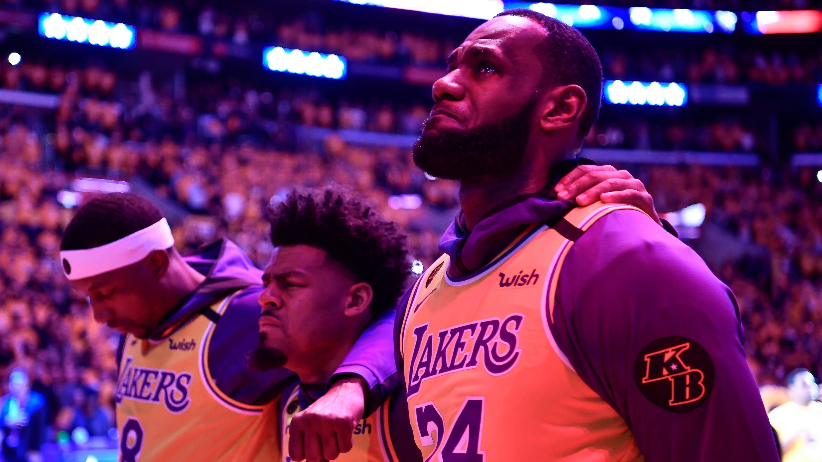 Kobe Bryant: Lakers pay tribute with LeBron James, Usher, Boys II Men