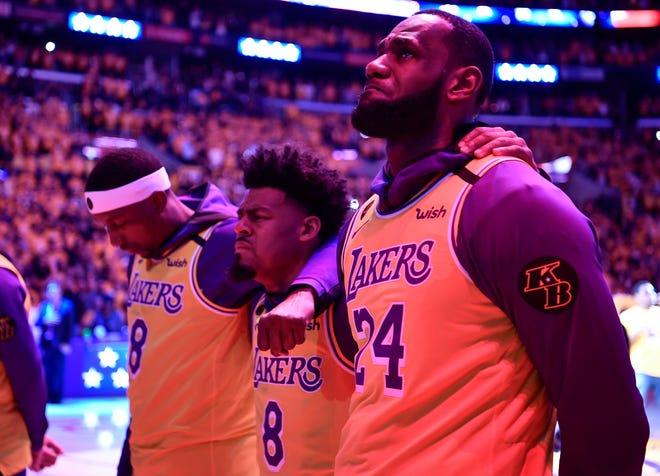 Kobe Bryant Lakers Pay Tribute With Lebron James Usher Boys Ii Men