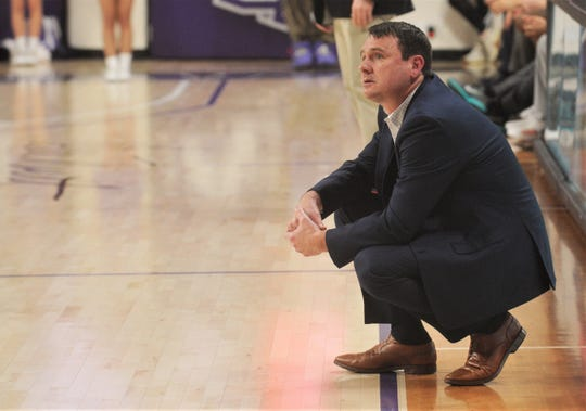 ACU coach Joe Golding watches his team team against Incarnate Word in the second half. ACU beat the Cardinals 72-58 in the Southland Conference game Saturday, Feb. 1, 2020, at Moody Coliseum.