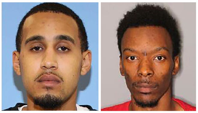 FILE - This combination of undated photos released by the Seattle Police Department shows Marquise Tolbert, left, and William Tolliver. The two men who investigators say were involved in a downtown Seattle shooting that killed one person and injured several others were arrested Saturday, the Seattle Police Department said. The Seattle Times and the Las Vegas Review-Journal report that Tolbert, 24, and Tolliver, 24, were booked into jail in Clark County, Nevada, according to jail records. (Seattle Police Department via AP)