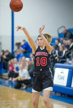 Crestview's Kylie Ringler shoots a 3-pointer during a game last season.