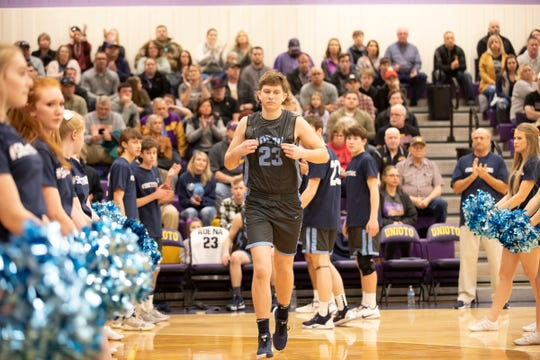 Adena's Logan Bennett wore Brandon Smith's No. 23 jersey during a game against Unioto on Feb. 1, 2020  in Chillicothe, Ohio.