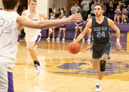 Adena's Cade McKee dribbles the ball up the court during a 58-41 loss to Unioto on Saturday, Feb. 1, 2020, at Unioto High School in Chillicothe, Ohio.