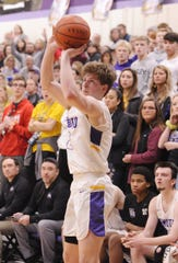 Unioto's Cam DeBord shoots a three during a 58-41 win over Adena on Saturday, Feb. 1, 2020, at Unioto High School in Chillicothe, Ohio.