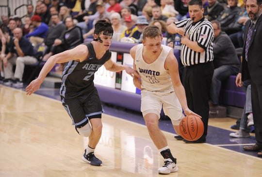 Unioto's Isaac Little dribbles the ball outside of the perimeter during a 58-41 win over Adena on Saturday, Feb. 1, 2020, at Unioto High School in Chillicothe, Ohio.