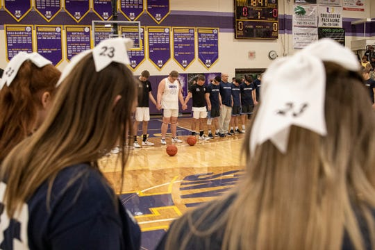The Adena and Unioto communities came together to pray and honor Brandon and Jake Smith before Adena and Unioto played each other in a boys basketball game on Feb. 1, 2020 in Chillicothe, Ohio.