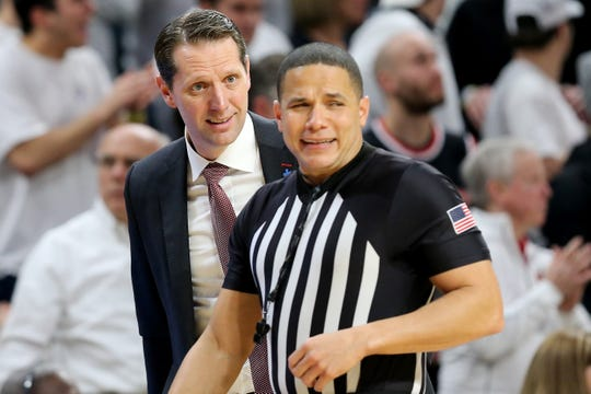 Cincinnati Bearcats head coach John Brannen argues with an official in the second half during a college basketball game against the Houston Cougars, Saturday, Feb. 1, 2020, at Fifth Third Arena in Cincinnati. Cincinnati Bearcats won 64-62.