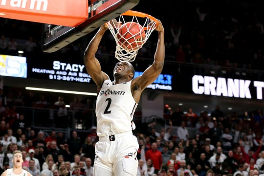 Cincinnati Bearcats guard Keith Williams (2) dunks in the second half during a college basketball game against the Houston Cougars, Saturday, Feb. 1, 2020, at Fifth Third Arena in Cincinnati. Cincinnati Bearcats won 64-62.