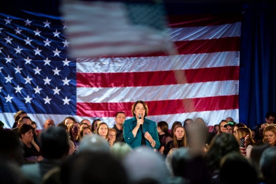 U.S. Sen. Amy Klobuchar of Minnesota speaks during a campaign rally at Franklin Junior High on Feb. 1 in Des Moines.