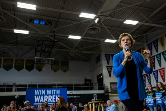 "Democratic presidential candidate U.S. Sen. Elizabeth Warren, D-Mass., speaks during a ""Get Out the Caucus Rally,"" Saturday, Feb. 1, 2020, at West High School in Iowa City, Iowa."