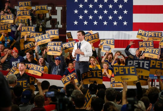 Democratic presidential candidate hopeful Pete Buttigieg spoke to thousands of supporters at Des Moines Lincoln High School on Sunday, Feb. 2, 2020.