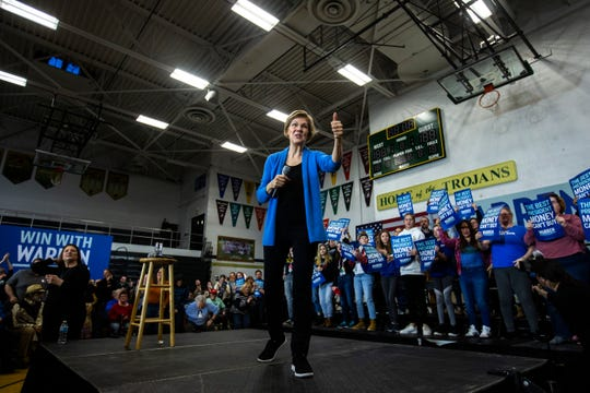 "Democratic presidential candidate U.S. Sen. Elizabeth Warren, D-Mass., gives a thumbs up while speaking during a ""Get Out the Caucus Rally,"" Saturday, Feb. 1, 2020, at West High School in Iowa City, Iowa."