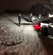Troopers from the MSP Gaylord Post arrested two snowmobilers for OWI and trespassing after one crashes on railroad property Sunday, Feb. 2, 2020.