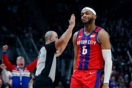 Detroit Pistons guard Bruce Brown walks backward after hitting a 3-pointer during the second half against the Denver Nuggets, Sunday, Feb. 2, 2020, in Detroit.