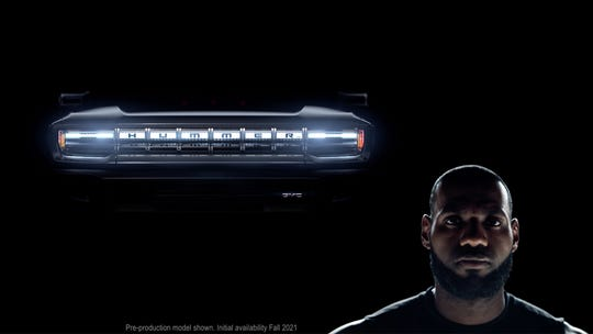 LeBron James introduces the long-rumored GMC Hummer EV, a battery-powered electric pickup truck, in a commercial airing on the Super Bowl.
