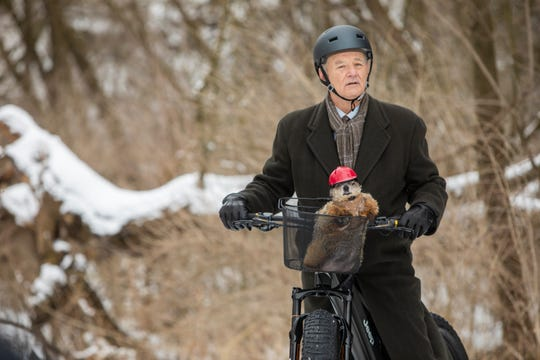 "Actor Bill Murray rides on the new Jeep e-bike in the brand's Super Bowl commercial recreating scenes from the 1993 ""Groundhog Day"" film."