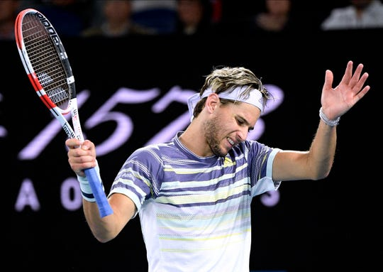 Dominic Thiem reacts during his men's singles final against Novak Djokovic.