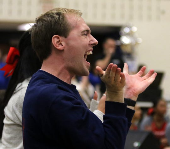 Chenango Forks coach Kody Smyder encourages his team in the Division 2 competition of the Southern Tier Athletic Conference Winter Cheerleading Championships on Feb. 1, 2020 at Horseheads Middle School. Forks won the Division 2 and overall titles.