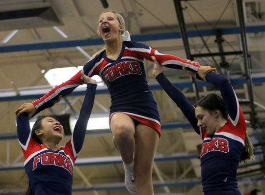 Chenango Forks varsity cheerleaders compete in Division 2 at the Southern Tier Athletic Conference Winter Cheerleading Championships on Feb. 1, 2020 at Horseheads Middle School. Forks won the Division 2 and overall titles.