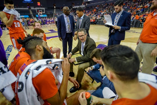 Evansville's head coach Todd Lickliter talks to his team during a second half timeout as the Evansville Purple Aces play the league leading Northern Iowa Panthers at the Evansville Ford Center Saturday afternoon, February 1, 2020.